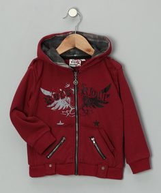 Take a look at this Red 'Rock Roll' Zip-Up Hoodie - Toddler & Boys by Wild Mango Clothing Co. on #zulily today!