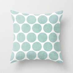 robins egg blue polka dots Throw Pillow by Her Art - $20.00