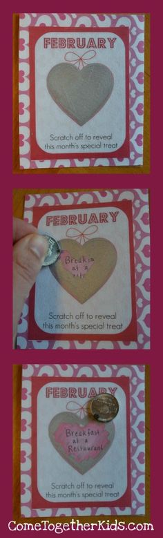A year of Valentines...DIY - make your own scratch off cards using acrylic paint and dish soap- scratch off an activity on Valentines, then on the first day of each month thereafter.  Can make a set for dates with kids or hubs