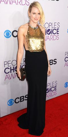 Naomi Watts set off her backless Alexander McQueen column with edgy Jennifer Meyer earrings, a studded Jimmy Choo clutch and Cartier bangle at the People's Choice Awards.