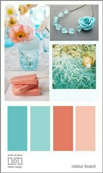 cool teal colors | love the blue glass vase and the.coral flower. and the becklace is ...