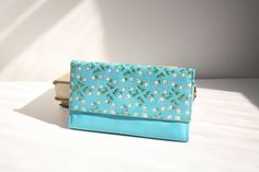 1960's Wallet Vintage Aqua Blue Turquoise Golden Floral Leather Princess... etsy.com