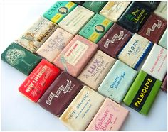 Vintage soaps are so purdy. I have a jar full just like these in my bathroom.