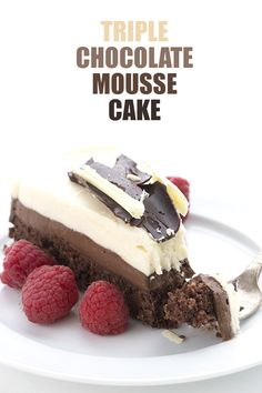 Creamy layers of low carb white chocolate and dark chocolate mousse on a grain-free chocolate cake.