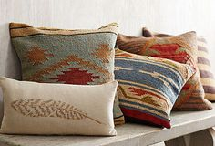 Rustic Pillows & Vintage Accents perfect for inside the camper Southwest Decor, Southwestern Decorating, Southwest Style, Rustic Cabin Decor, Lodge Decor, Textiles, Modern Lodge, Rustic Pillows, Vintage Pillows