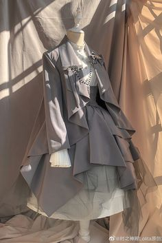 evening prayer irregular long sleeve suit jacket (Pre-order ends January - Lolita Coats, Capes and Mantles Pretty Outfits, Pretty Dresses, Beautiful Dresses, Cosplay Dress, Cosplay Outfits, Old Fashion Dresses, Fashion Outfits, Lolita Gothic, Vintage Dresses
