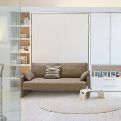 penelope sofa/wallbed from resource furniture coordinates with CLEI modular sheling and storage systems