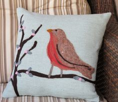 A soft robin's egg blue hopsack linen was used for the sky. Willow buds are individually applied wool felt. ©2011 Georgianne Holland $70