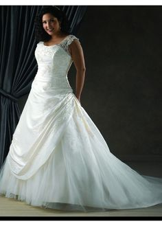 Modest A-Line Taffeta Scoop Bridal Wedding Dress