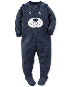 Fuzzy fleece pairs with an adorable bear face on these delightful footed pajamas from Carter's. | Polyester | Machine washable | Imported | Ribbed crew neck and sleeve cuffs | Worry-free safety tab at