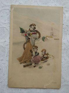 Christmas Art, Christmas Greetings, Christmas Decorations, Postcard Art, Ship Art, Second Child, Art Deco, Snow, Antiques