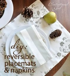 DIY: Reversible Placemats & Napkins  ~~~   With one yard of cotton in each fabric, you can make four napkins or four placemats. If you can sew a straight line, you can easily make your own beautiful sets of reversible cotton or cloth napkins and placemats for any season, and for less than you'd pay at most retail shops.   ....it's Sew Easy!!!