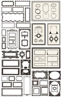 飾り枠、飾り罫、デザイン枠のエクセレントなセット