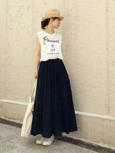 ari☆さんの「インド綿楊柳イージーマキシスカート S ネイビー(無印良品|ムジルシリョウヒン)」を使ったコーディネート