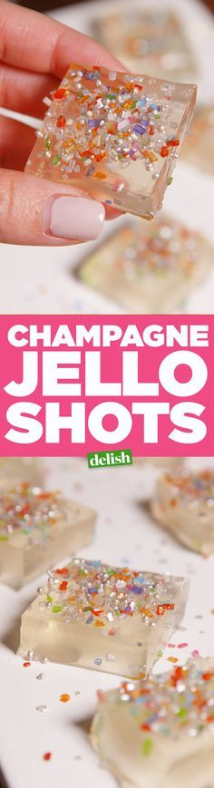 Champagne Jello Shots… WITH PopRocks on top. Instant party in your mouth! Champagner Jello Shots … MIT PopRocks an der Spitze. Sofort Party in deinem Mund! Snacks Für Party, Party Drinks, Fun Drinks, Yummy Drinks, Yummy Food, Beverages, Wine Parties, Alcoholic Drinks, Gelatina Jello