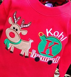 Boys Personalized Appliqued Reindeer with Ornament by lilshabebe