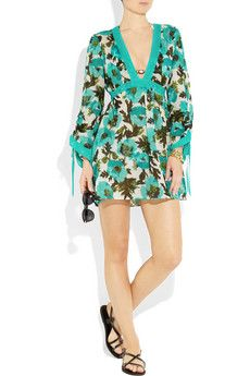 MILLY  Alessandra poppy-print cotton-voile mini dress