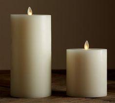 Flickering Flameless Wax Pillar Candle | Pottery Barn