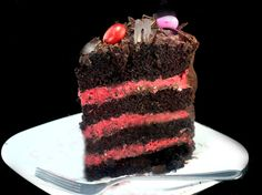 Rustic One Bowl Dark Chocolate Cake with Fresh Raspberry Buttercream (no food color) and Candied Almond Ganache