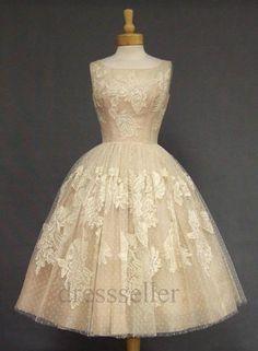 Tea Length Champagne Lace Wedding Dress Bridal di dressseller