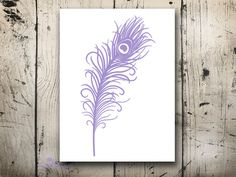 Lilac peacock feather Art print Home Wall decor Teen girls bedroom