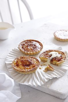 Caramel Cream Tarts with Almond Pastry