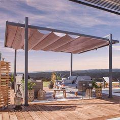 Tonnelle clipperton toit ajustable castorama cour gazebo pergola bbq deck pinterest - Canvas pvc witte leroy merlin ...