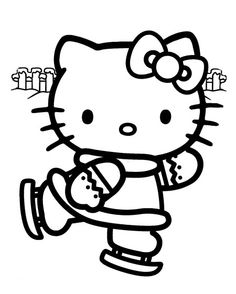 Here is a wintery coloring page showing Hello Kitty ice skating. To color this image, simply click on it and it will open full size - next, either save it to your PC for later - or print it straight away.