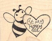 Valentine's Day Bee Rubber Stamp with Heart, Be my Honey Bee  G23410 Wood Mounted