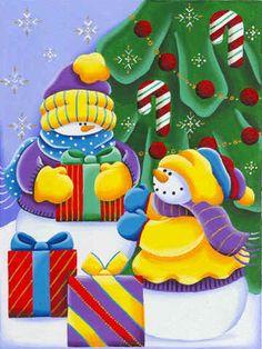 Snowmen modern Christmas image