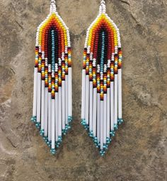 "Native American Style 4"" Multi Colored Beaded Earrings  