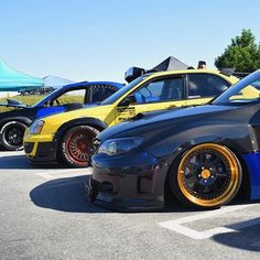 That line up 🔥🔥🔥 @subie323_ @rumblebee.sti @that1nightmare  #socalsubieculture #ssc #awdsome #phsubaru #klutchwheels  Find out more at klutchwheels.com