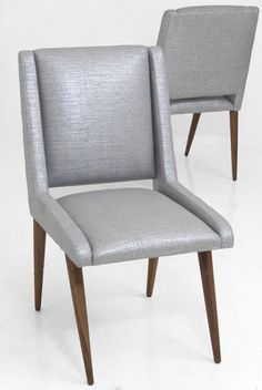 Mid-Century Dining Chair in Metallic Silver Linen
