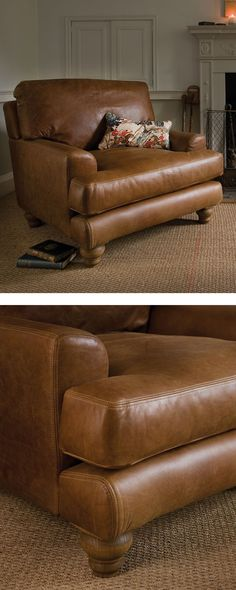Indigo English Low Arm Leather Armchair designed to surpass comfort and luxury with a relaxed arm and overstuffed base cushions #leather #sofa #home #indigofurniture