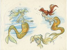 Concept art from the 1989 Disney film, 'The Little Mermaid' Early Ariel concepts, she was almost blonde!