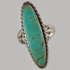 Old Pawn Navajo Turquoise Sterling Ring c1940's