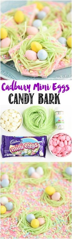 Cadbury Mini Eggs Candy Bark Recipe - pink and white chocolate marble candy bark topped with candy grass nests, Cadbury mini eggs and sprinkles. MichaelsMakers A Pumpkin And A Princess