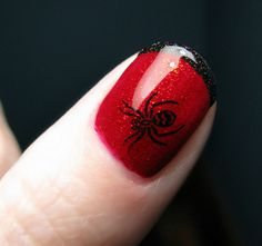 The thumbs on my spiderman themed nails. China Glaze ruby pumps, Konad black with stamp and Art club holo black tips. The fishnet stamp is not large enough for my thumbs, but I love the spider more! Get Nails, How To Do Nails, Hair And Nails, Halloween Nail Designs, Halloween Nail Art, Pretty Halloween, Halloween Spider, Halloween Makeup, Nail Polish Designs