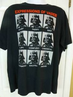 Star Wars Expressions of Vader T Shirt Darth Vader Size XL | eBay