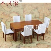 DOLLHOUSE 1/12 SCALE MINIATURE FURNITURE WELL MADE WOODEN TABLE&CHAIRS