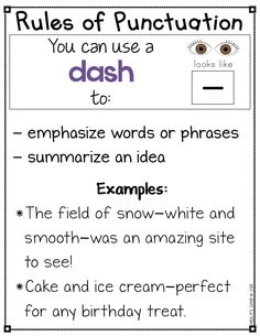 Help your students learn all about the different types of punctuation with these anchor charts! These charts are helpful to have access to during writing workshop and editing. Each poster comes with a visual representation of the punctuation mark, ways to use it and examples. #punctuation #editing #writersworkshop #anchorcharts #dashes Book Writing Tips, English Writing Skills, Writing Strategies, Writing Words, Writing Lessons, Writing Workshop, Kids Writing, Writing Prompts, English Vocabulary