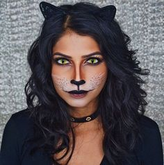 Easy cat / feline / kitty makeup for halloween. Easy glam