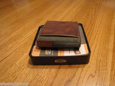 Men's Fossil wallet leather NEW credit card brown agent traveler ML2984200 RARE