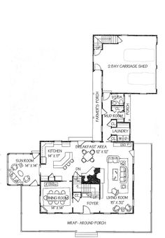 Farmhouse Style House Plan - 4 Beds 2.5 Baths 3072 Sq/Ft Plan #530-3 Floor Plan - Main Floor Plan - Houseplans.com