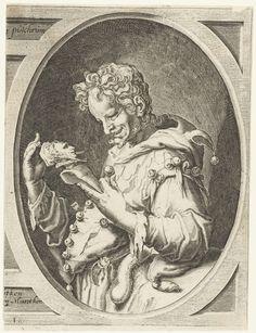 Jacob de Gheyn (II) | Nar met narrenkap op de rug, Jacob de Gheyn (II), 1596 | Een nar, ten halven lijve, in ovaalvormige omlijsting, een narrenkap op de rug hangend en een marot (knots met aan het uiteinde een buste van zichzelf) in de handen. Dit object is het rechterdeel van een in tweeën geknipte prent van twee narren in ovale omlijstingen, met tussen de ovalen een Lartijns opschrift en de Nederlandse vertaling daarvan.
