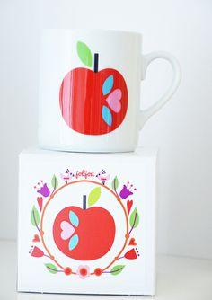 Tasse Retro APPLE Porzellan in Geschenkbox von Jolijou  auf DaWanda.com