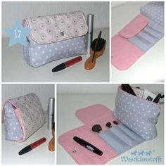 Die üblichen Kosmetiktaschen gibt es im Netz wie Sand am Meer, deshalb haben wir diese aufklappbare Kosmetiktasche mit integrierten Pinselfach entwickelt.