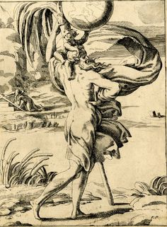 St Christopher, etching by Hendrick van der Borcht the Younger after a drawing by Parmigianino, 1640-50.