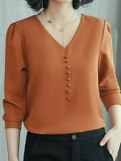 Buy Long Sleeve Blouses For Women from Sicily at Stylewe. Online Shopping Stylewe Long Sleeve Blue Red Pink Caramel Women Blouses For Work Chiffon V Neck Elegant Elegant Paneled Date Blouses, The Best Daily Blouses. Frock Fashion, Fashion Line, Modest Fashion, Fashion Dresses, Work Blouse, Blouse Dress, Sewing Blouses, Work Tops, Corsage