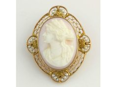 Vintage Carved Shell Cameo Brooch Pendant  10k by WilsonBrothers